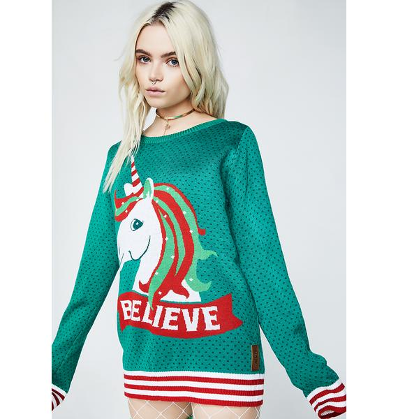 Tipsy Elves Unicorn Believe Sweater