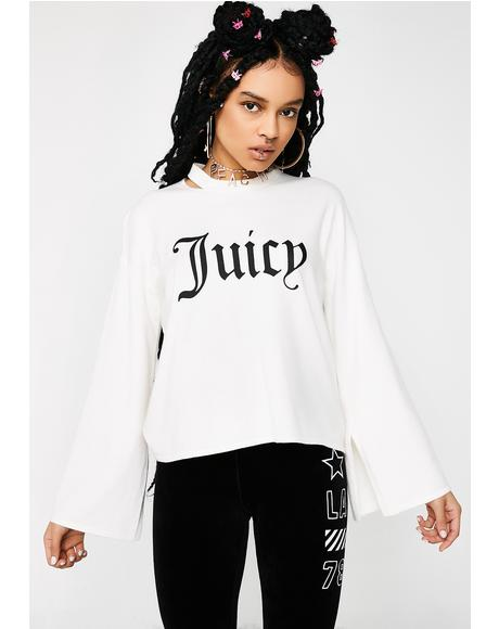 Gothic Logo Split Sleeve Sweater
