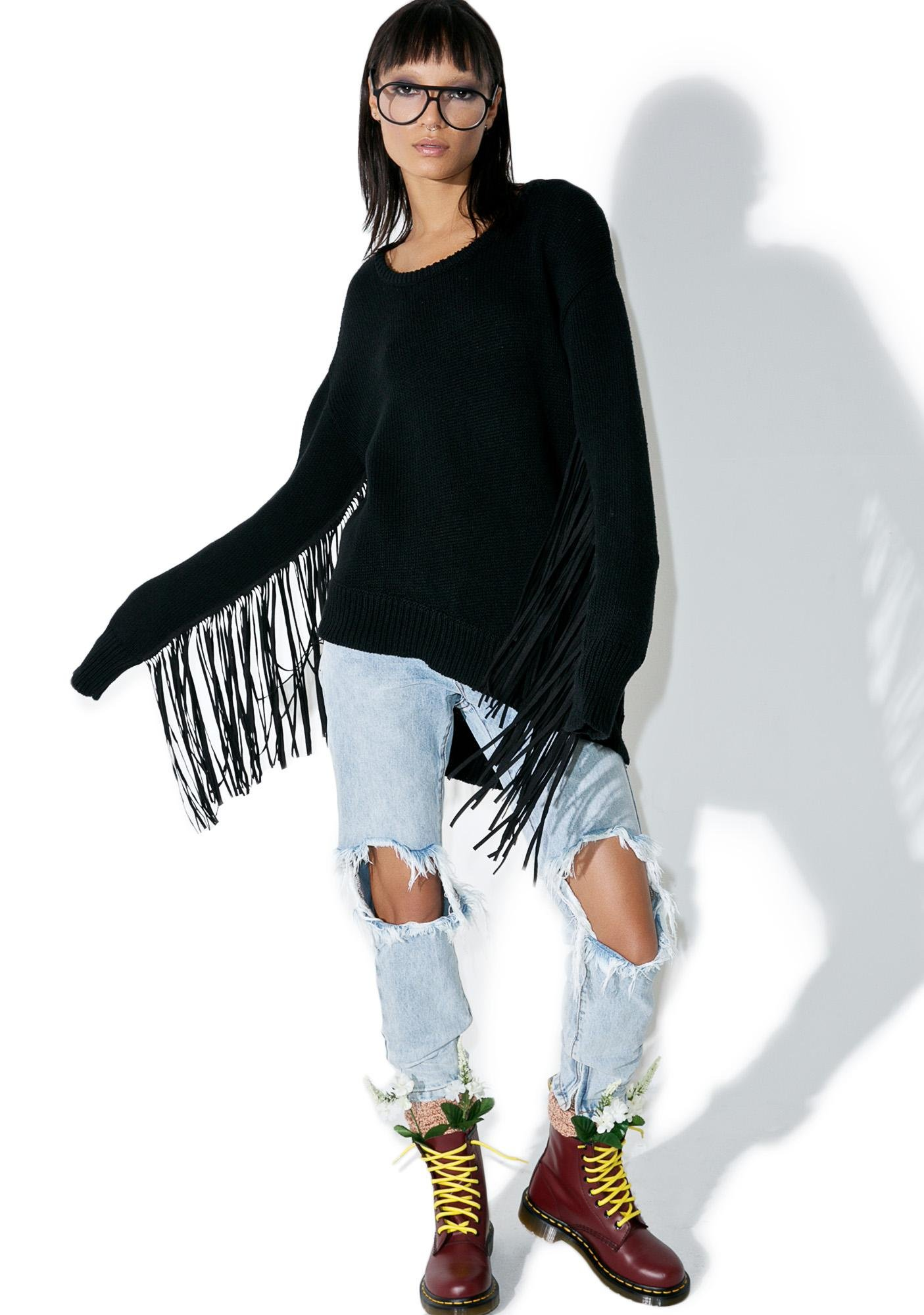One Teaspoon Sovereign Fringed Knit Sweater
