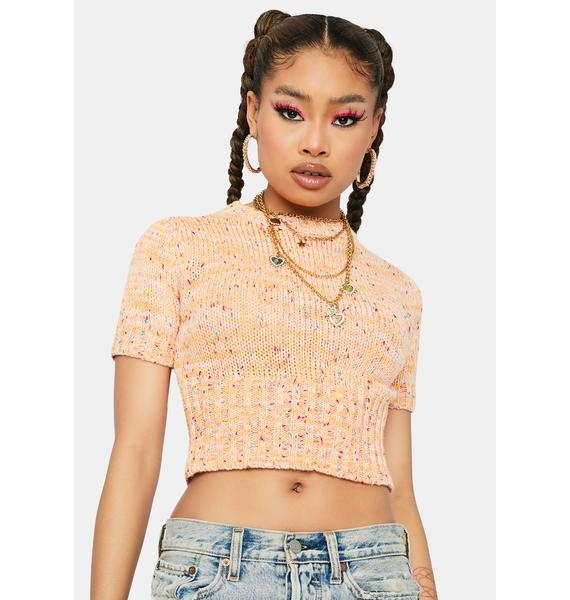 Crush Secret Gossip Short Sleeve Crop Sweater