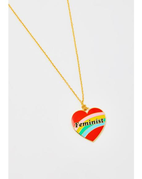 Feminist Heart Pendant Gold Necklace