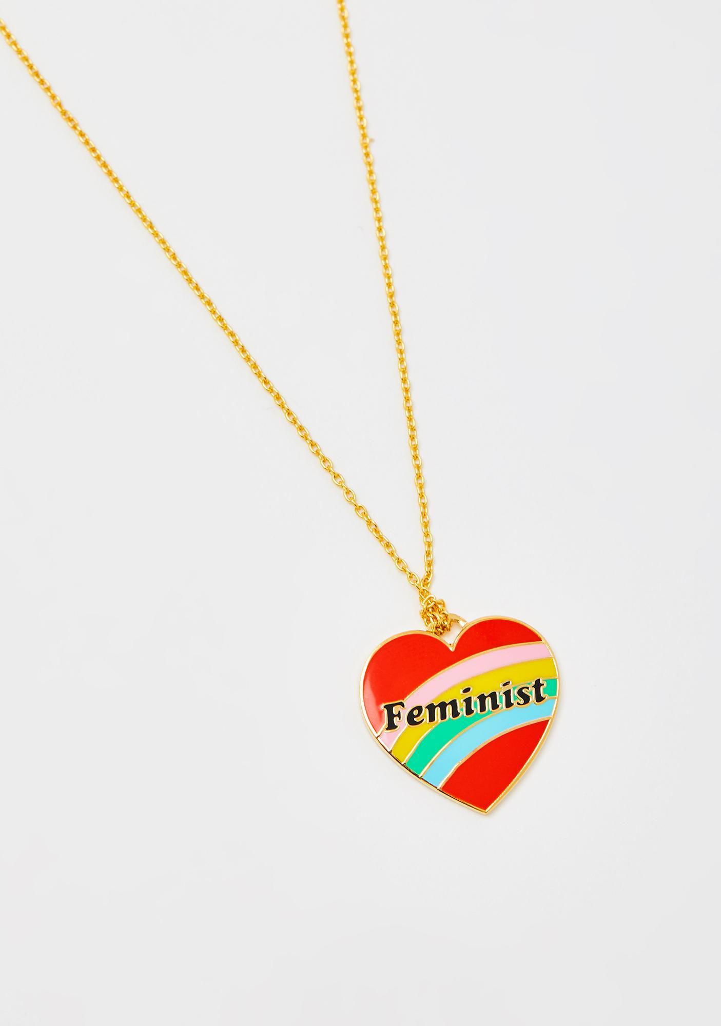 Yellow Owl Workshop Feminist Heart Pendant Gold Necklace