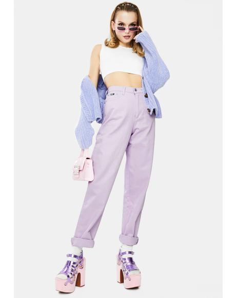 Lilac Denim Mom Jeans