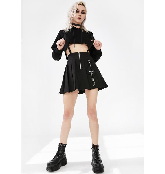 Punk Rave Dark Black Pleated Skirt