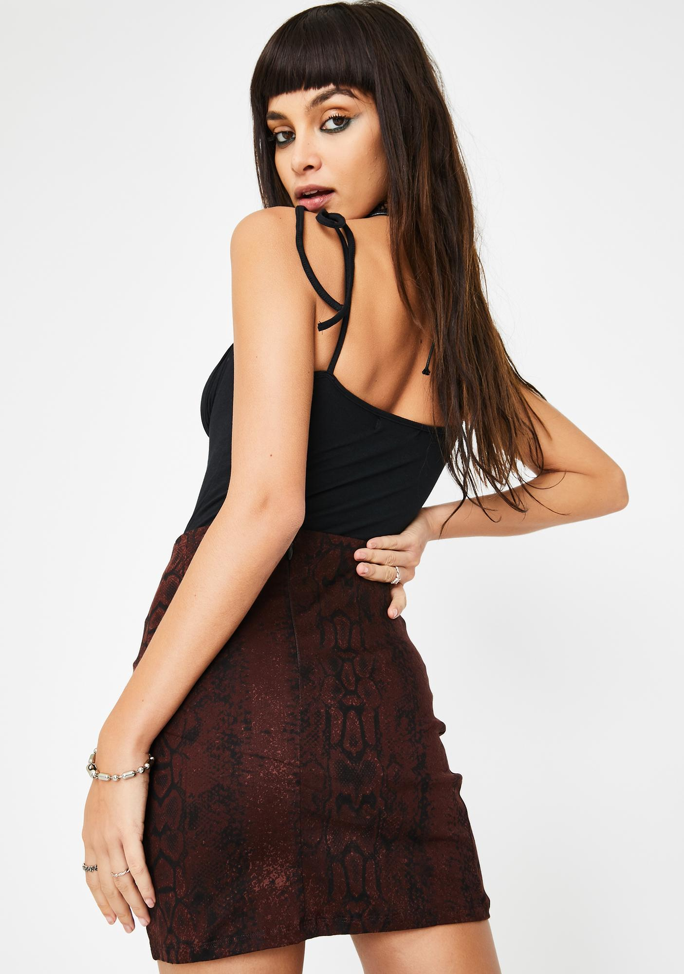 Motel Brown Snakeskin Lace Up Mini Skirt