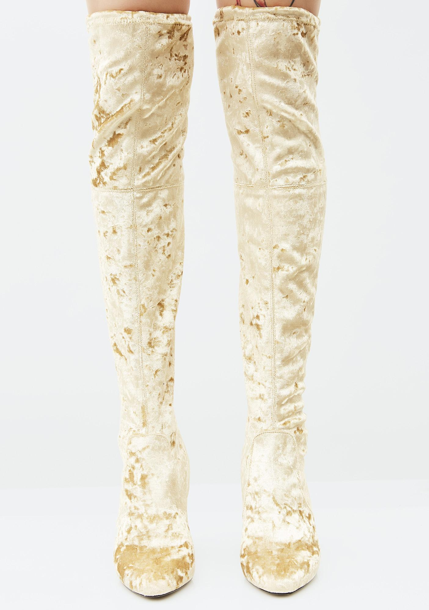 Privileged Gold Velvet Thigh High Boots