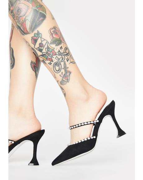 Noir Dearest Darling Rhinestone Heels