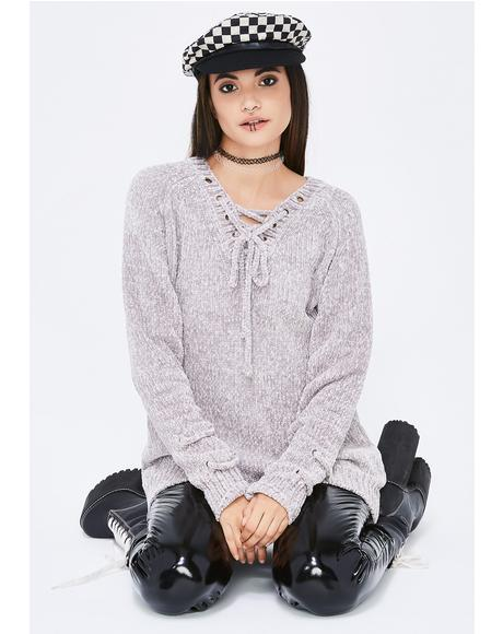Hidden Truth Lace-Up Sweater