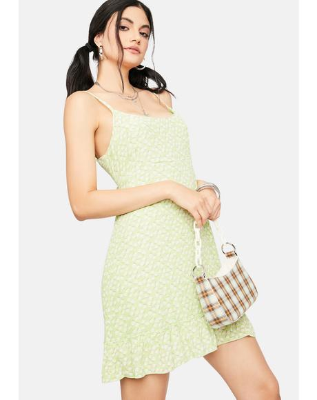 Lime Collect Call Floral Mini Dress