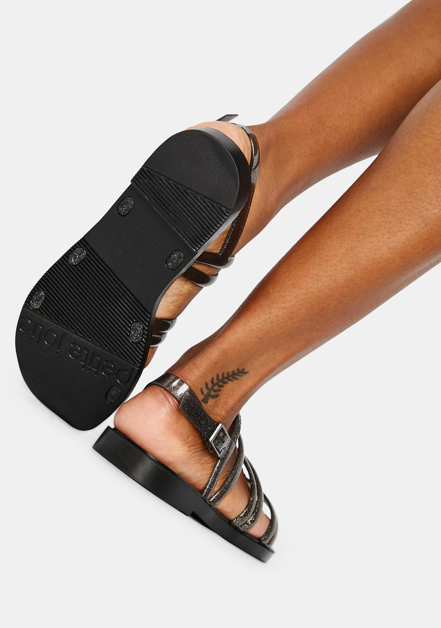 Petite Jolie Black Glitter Rio Jelly Sandals
