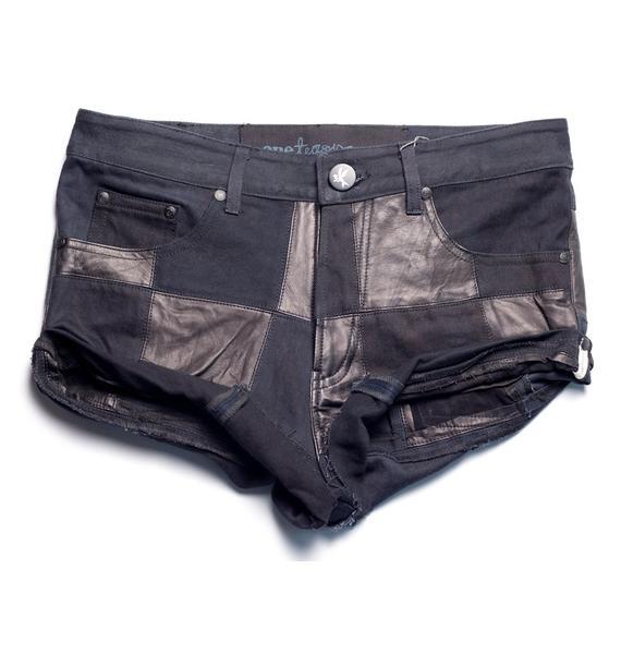 One Teaspoon Leather Patchwork Bandits Short
