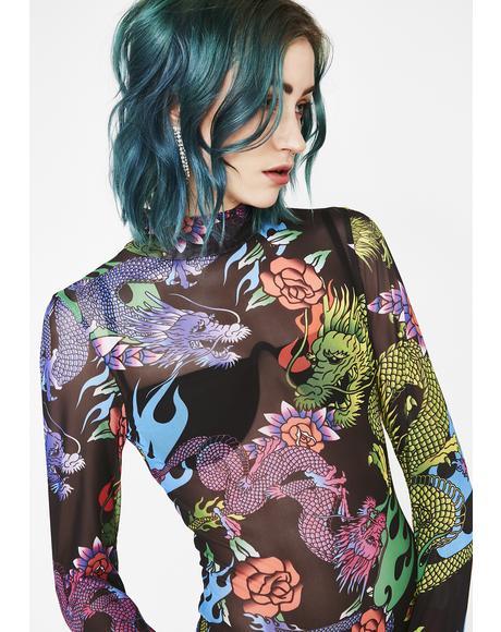 Dragon Print Mesh Bodysuit