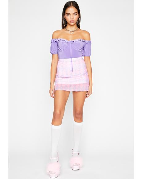 Grape Be A Doll Ruffle Bodysuit
