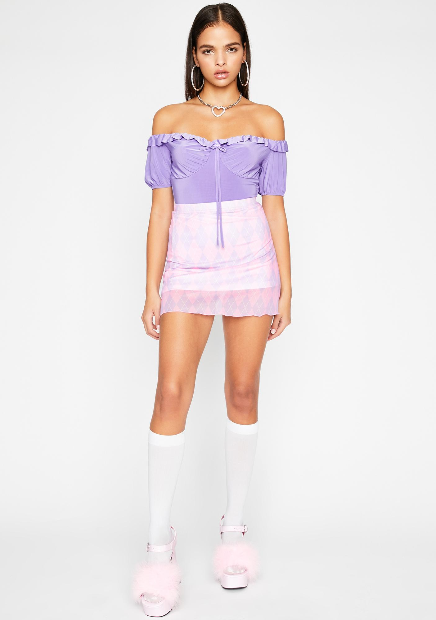 Grape Be A Doll Ruffle Bodysuit