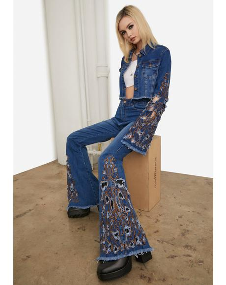 Topaz Rooftop Revival Embroidered Jeans