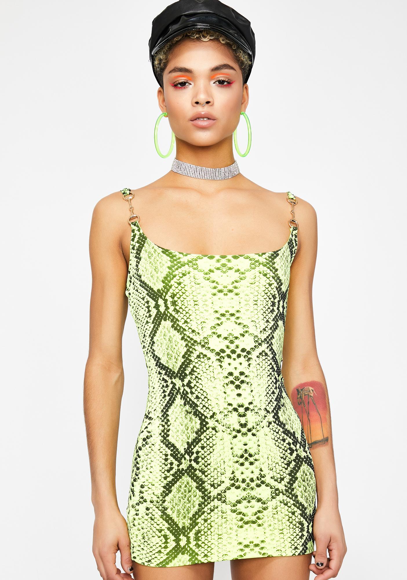 1f7310b6d134 Neon Snakeskin Print Mini Scoop Neck Dress | Dolls Kill