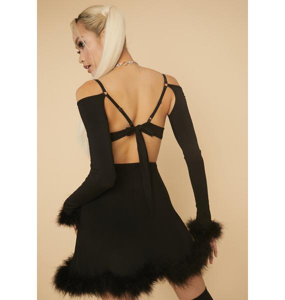 HOROSCOPEZ Sophisticated Savage Marabou Mini Dress