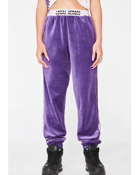 Purple Velvet Sweatpants