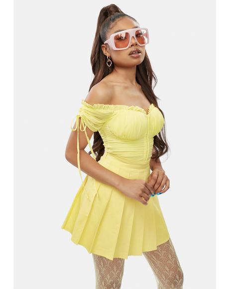 Lemon Quite The Night Mesh Off Shoulder Crop Top