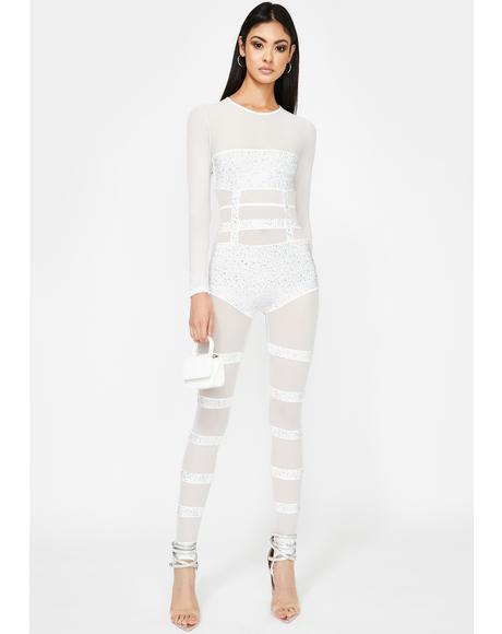 Frosted Electric Elektra Sheer Catsuit