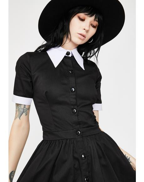 Wednesday Addams Short Sleeve Mini Dress