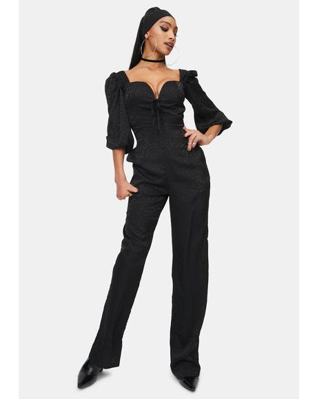Animal Satin Jacquard Milkmaid Jumpsuit