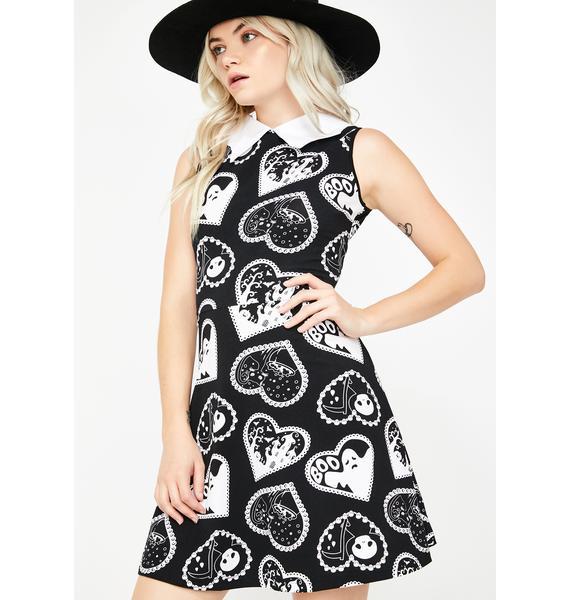 Too Fast Bat Collared Boo Heart Print Dress