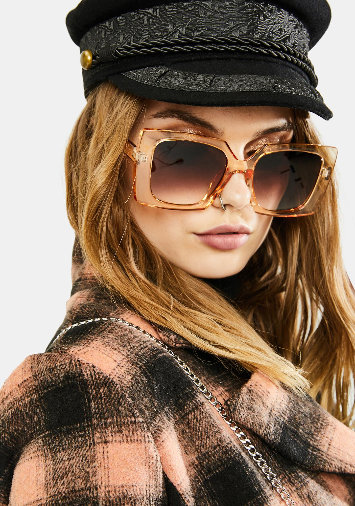 Champagne The Good Life Oversized Sunglasses