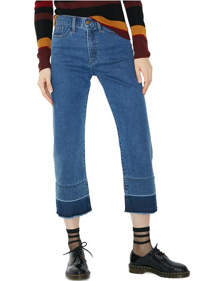 Dark Denim Stitch Flare Jeans