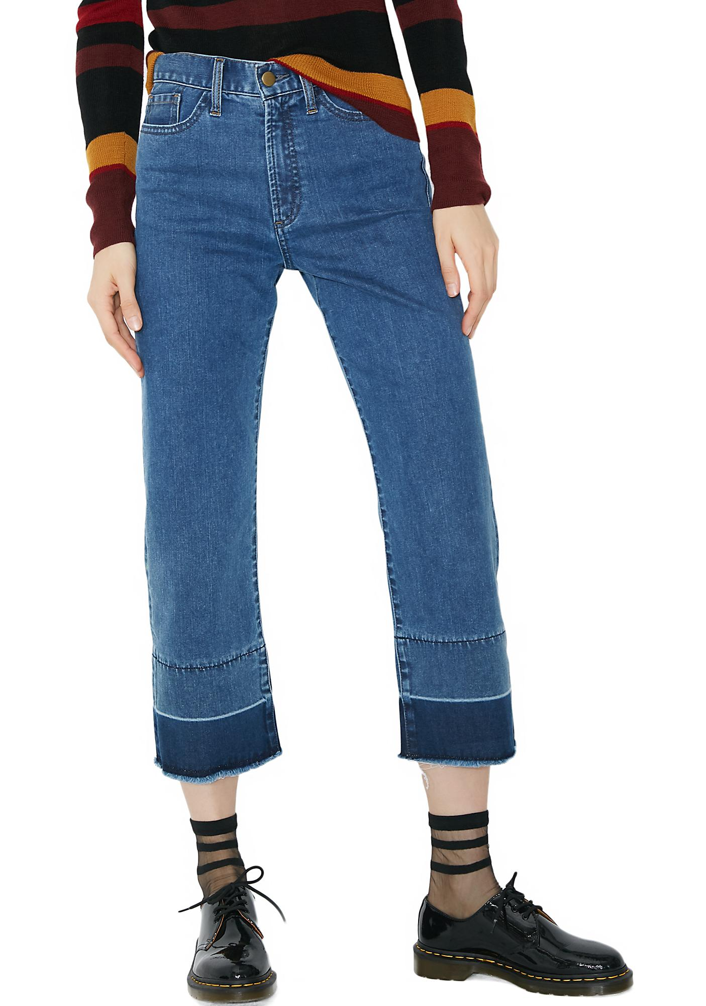 EVIDNT Dark Denim Stitch Flare Jeans
