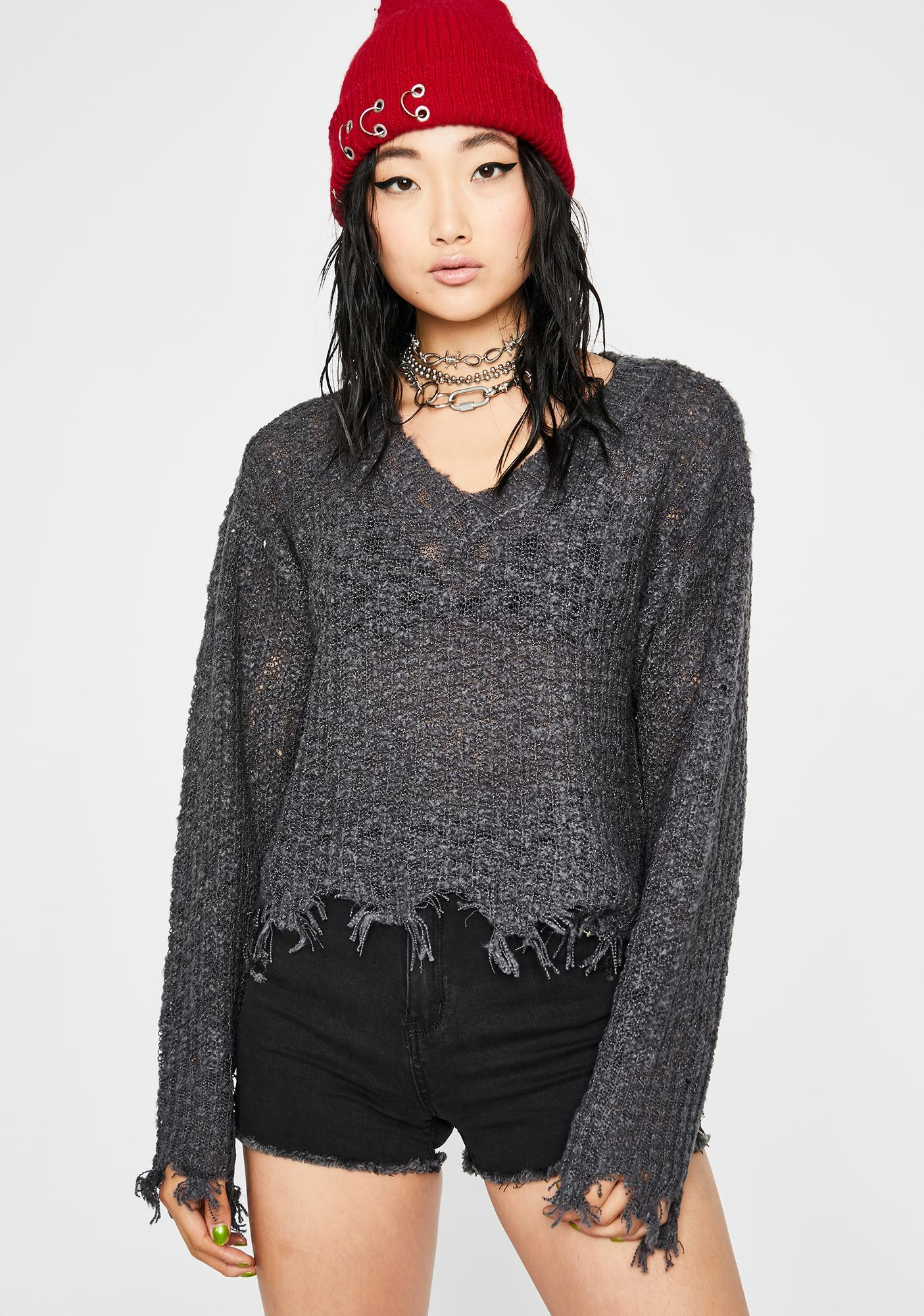 Charcoal Stress Test Knit Sweater