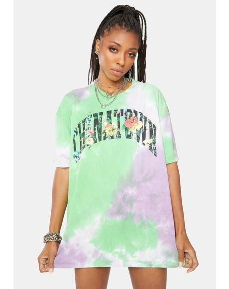 Flower Arch Tie Dye Graphic Tee