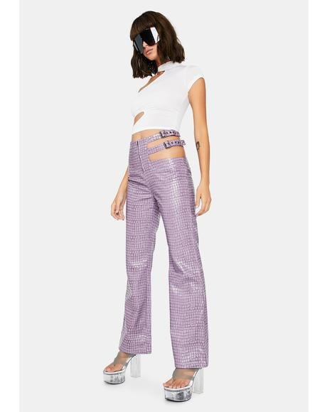 Lilac Tile Cut-Out Pants