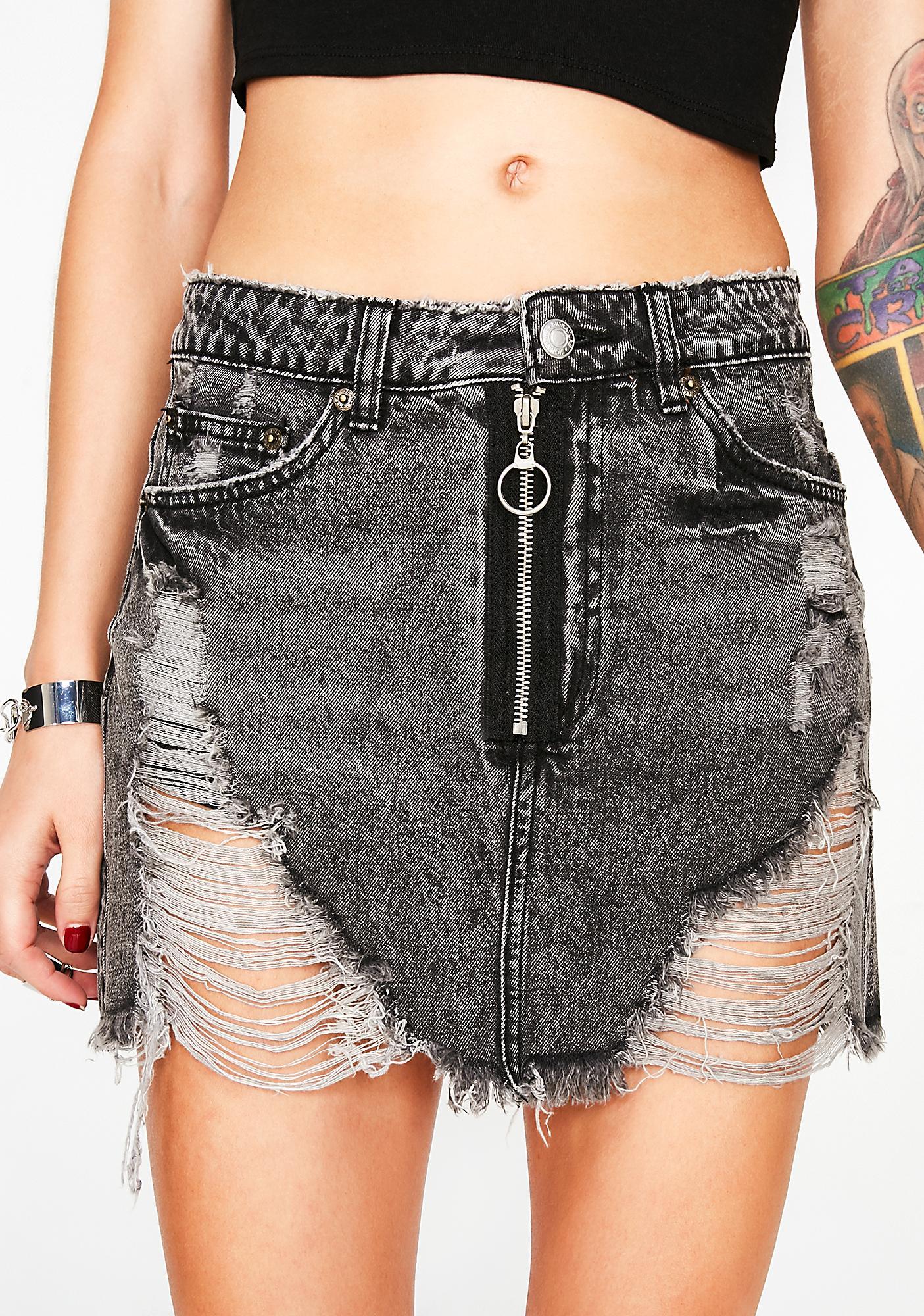 Noir Hung Up Denim Skirt