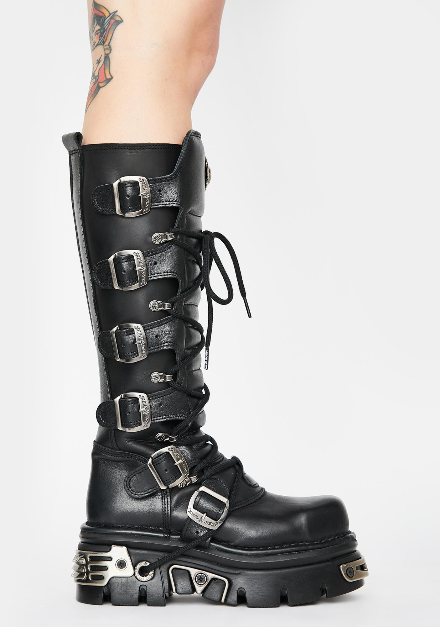 New Rock Knee High Buckle Boots