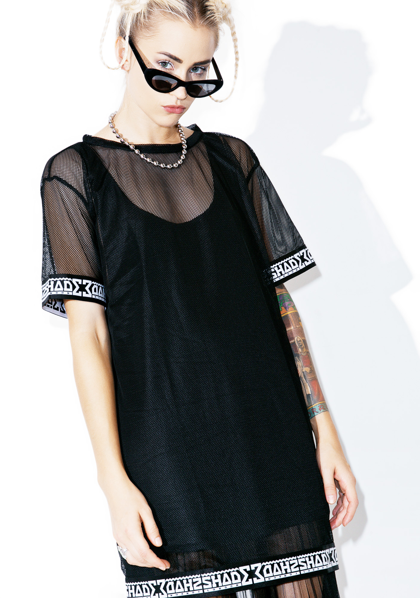 Shade London Black Mesh Tee