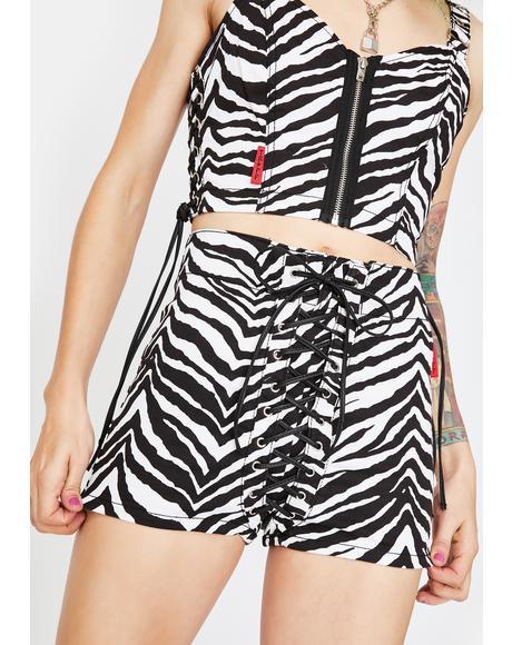 Zebra High Waist Corset Shorts