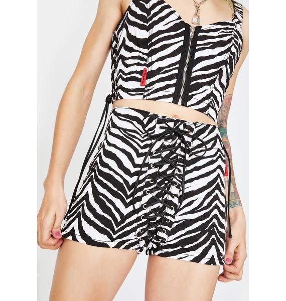 Tripp NYC Zebra High Waist Corset Shorts