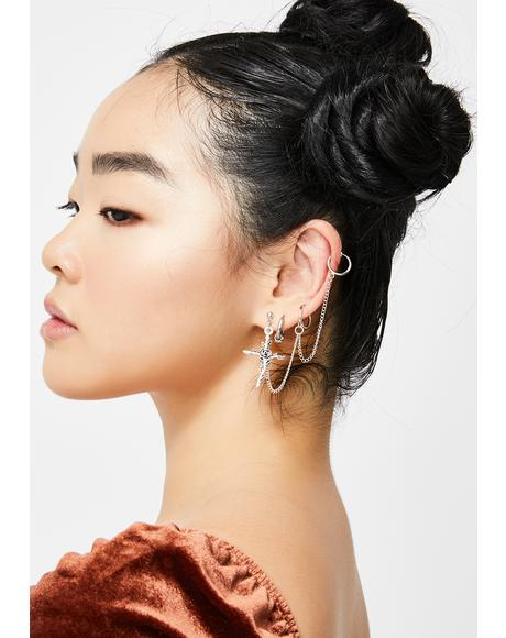 Feeling Cross Chain Earring