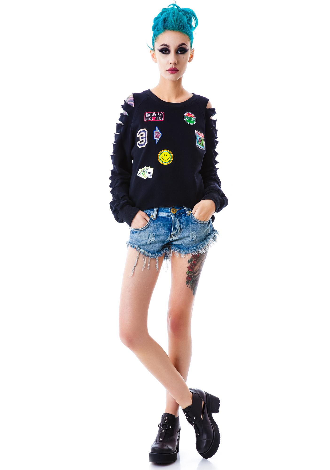 Camden Patched Shredded Sweatshirt