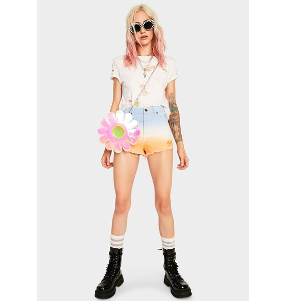 Mink Pink Fade Away Trashed Denim Shorts