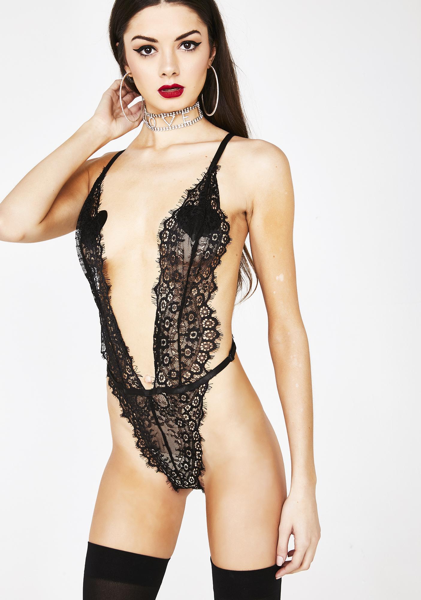 1f0767711fe0e Black Eyelash Lace Bodysuit Teddy | Dolls Kill