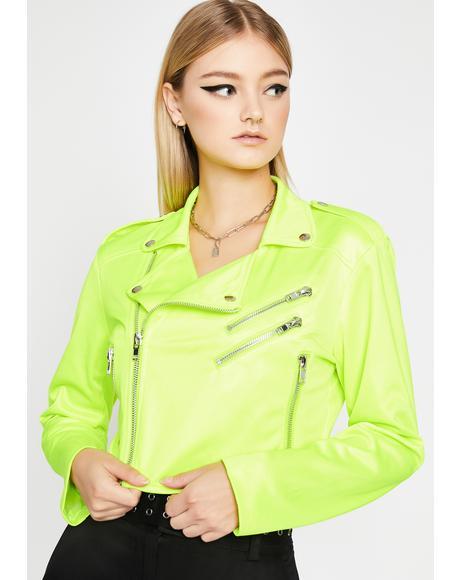 Neon Heart Moto Jacket