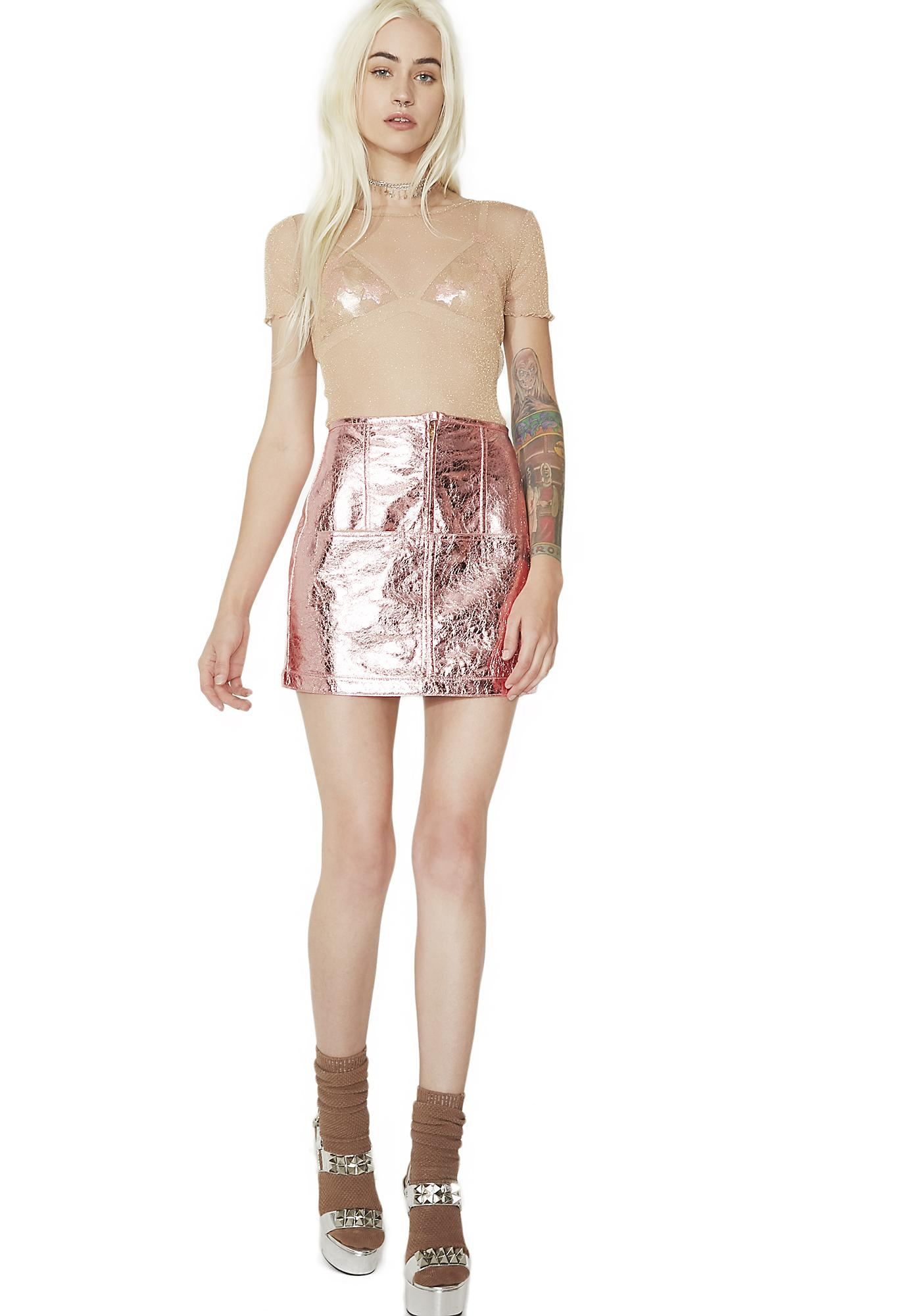 For Love & Lemons Luna Metallic Skirt