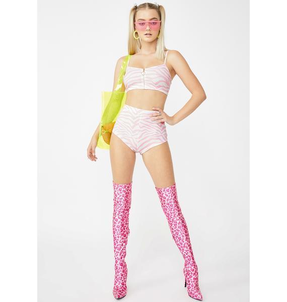 Elsie & Fred Candyfloss Pink Zebra Hot Pants