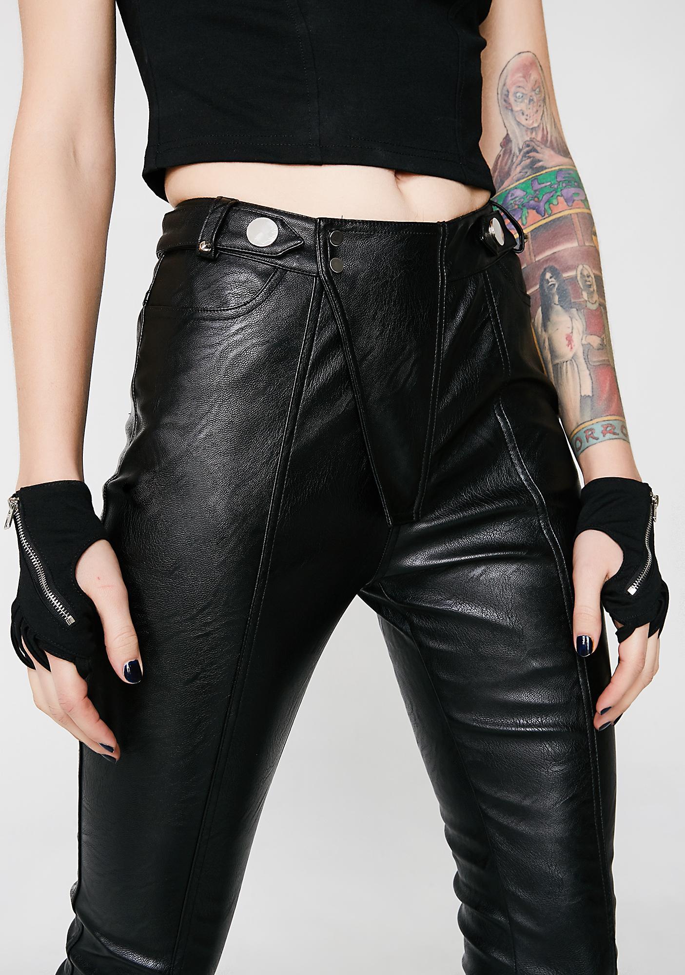 Punk Rave Black Leather Pants