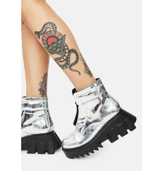 Club Exx Total Eclipse Metallic Combat Boots