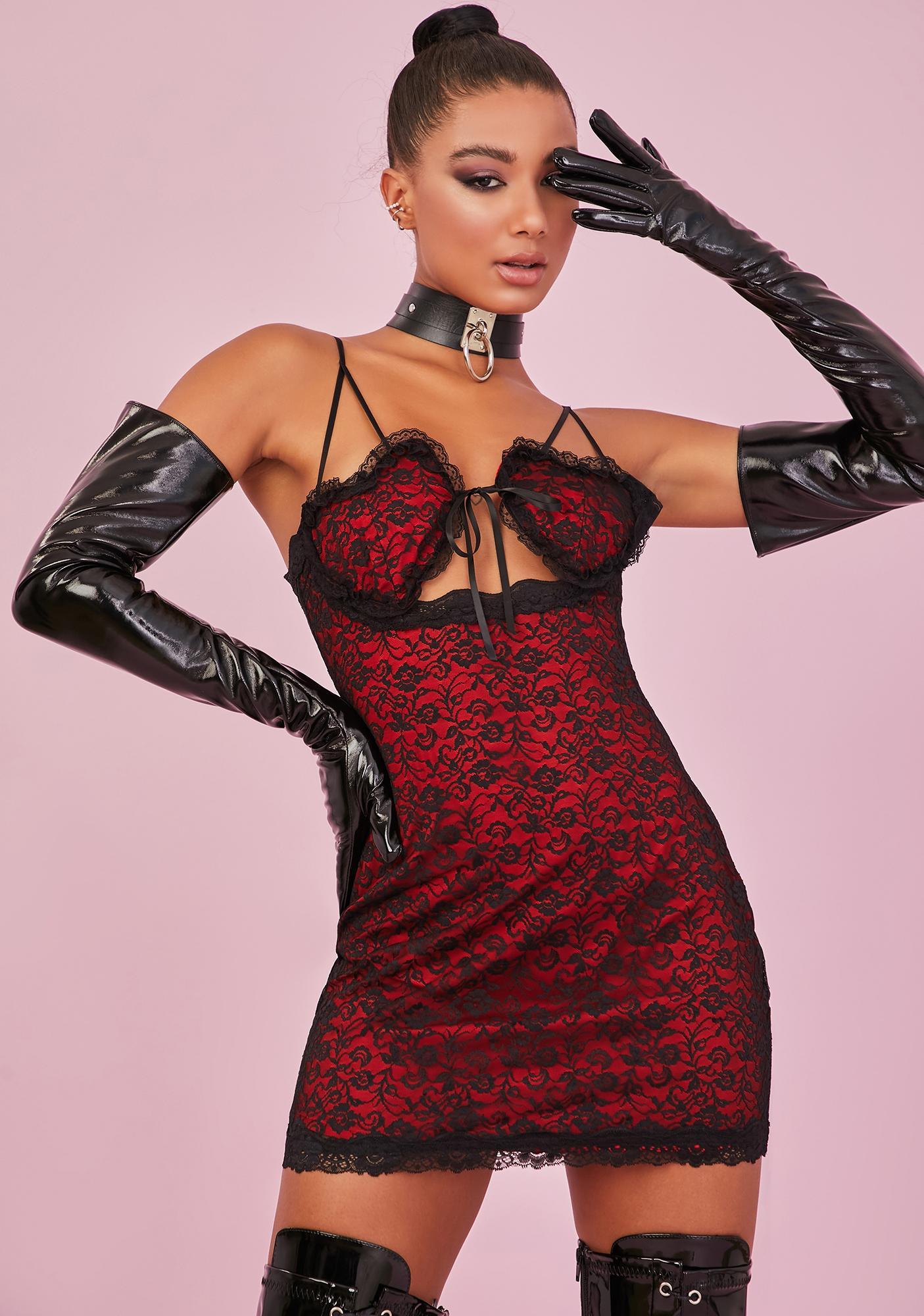 Sugar Thrillz Love In Command Lace Mini Dress