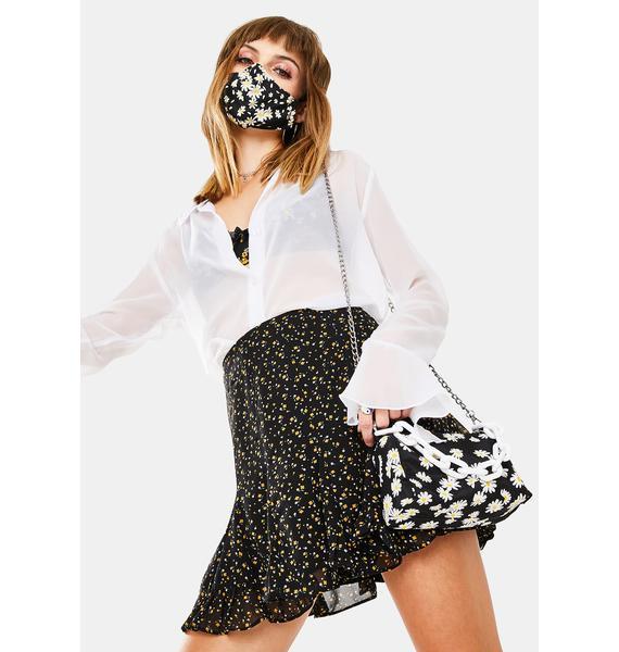 Dress Forum Black Floral Mini Skirt