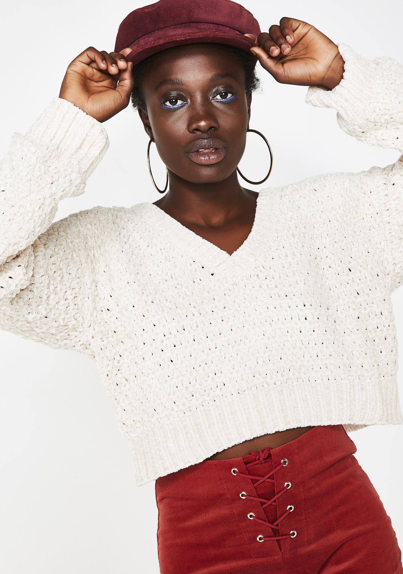203b08a7cecbab Ivory Crop Knit Sweater | Dolls Kill